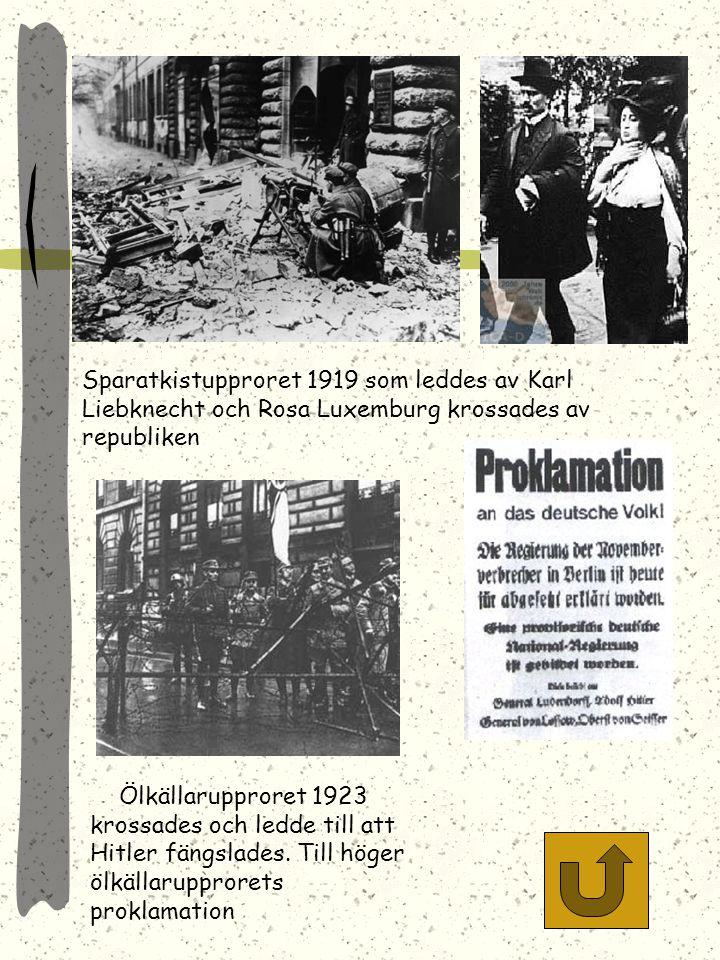Sparatkistupproret 1919 som leddes av Karl Liebknecht och Rosa Luxemburg krossades av republiken