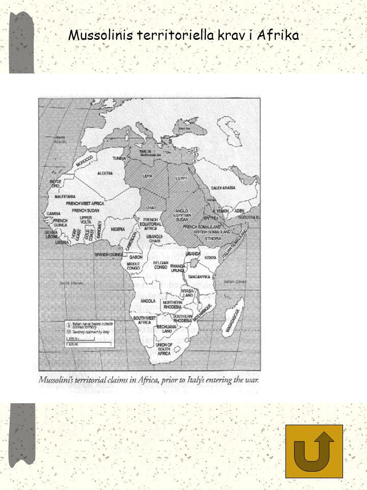 Mussolinis territoriella krav i Afrika