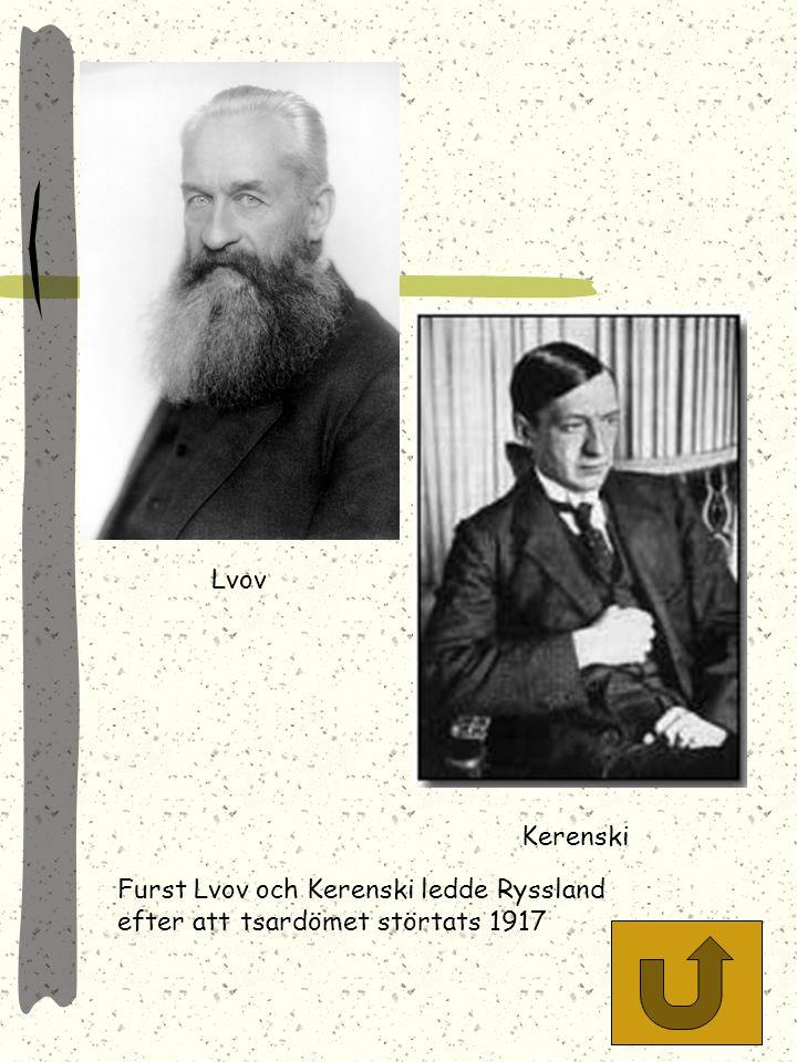 Lvov Kerenski Furst Lvov och Kerenski ledde Ryssland efter att tsardömet störtats 1917