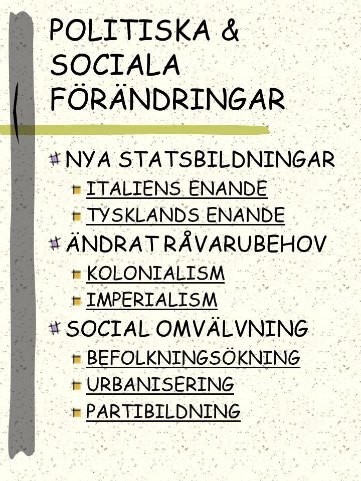 POLITISKA & SOCIALA FÖRÄNDRINGAR