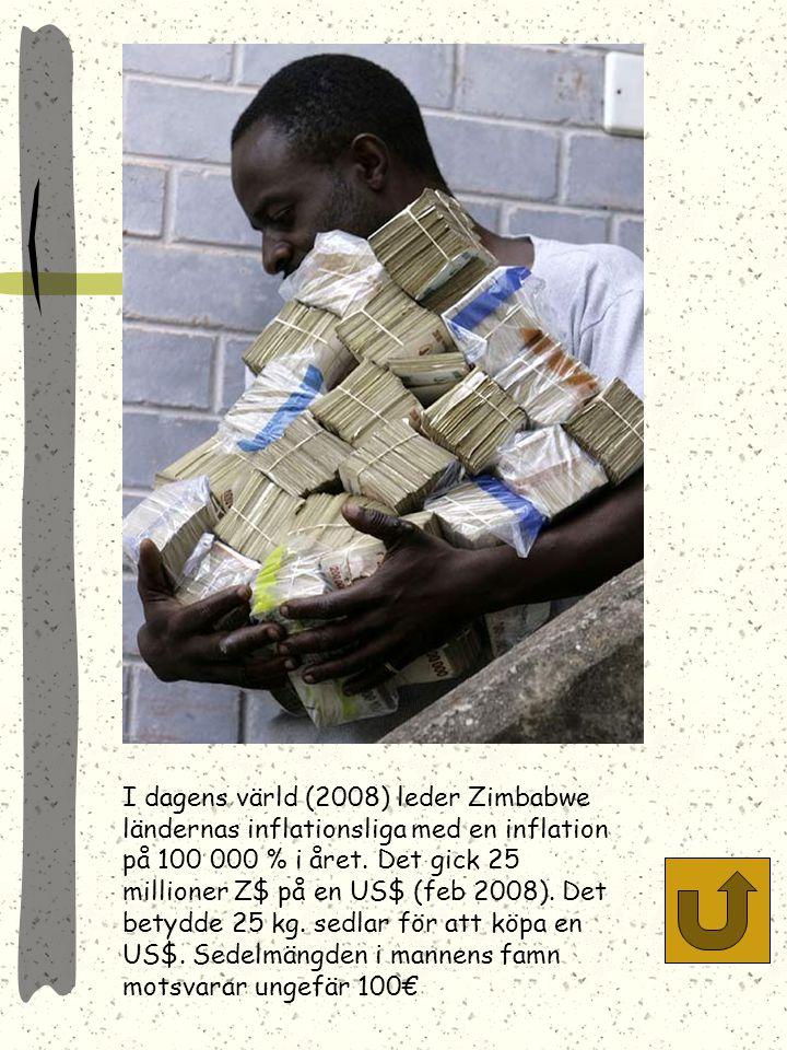 I dagens värld (2008) leder Zimbabwe ländernas inflationsliga med en inflation på 100 000 % i året.