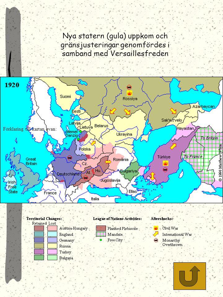 Nya statern (gula) uppkom och gränsjusteringar genomfördes i samband med Versaillesfreden