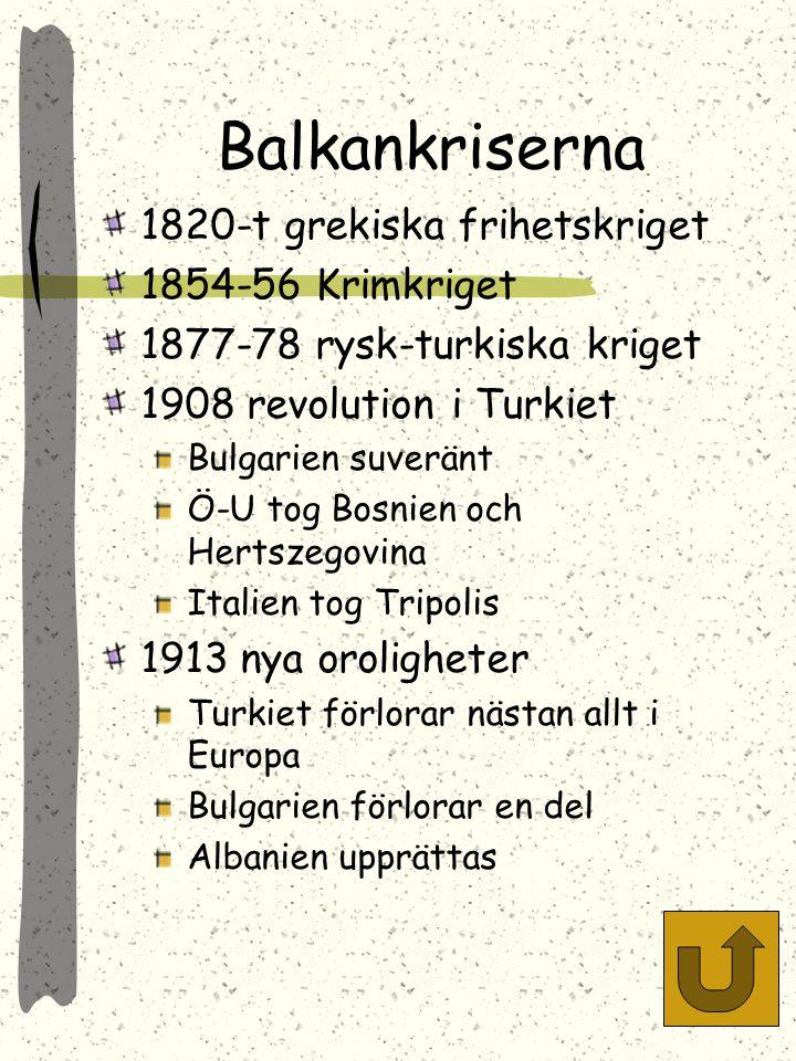 Balkankriserna 1820-t grekiska frihetskriget 1854-56 Krimkriget