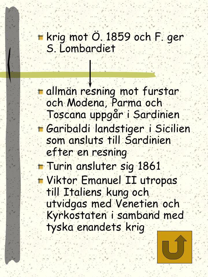 krig mot Ö. 1859 och F. ger S. Lombardiet