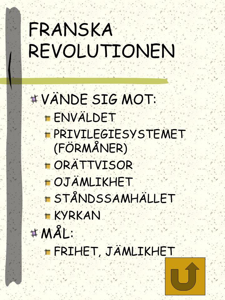 FRANSKA REVOLUTIONEN VÄNDE SIG MOT: MÅL: ENVÄLDET