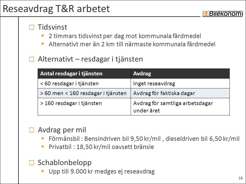 Reseavdrag T&R arbetet
