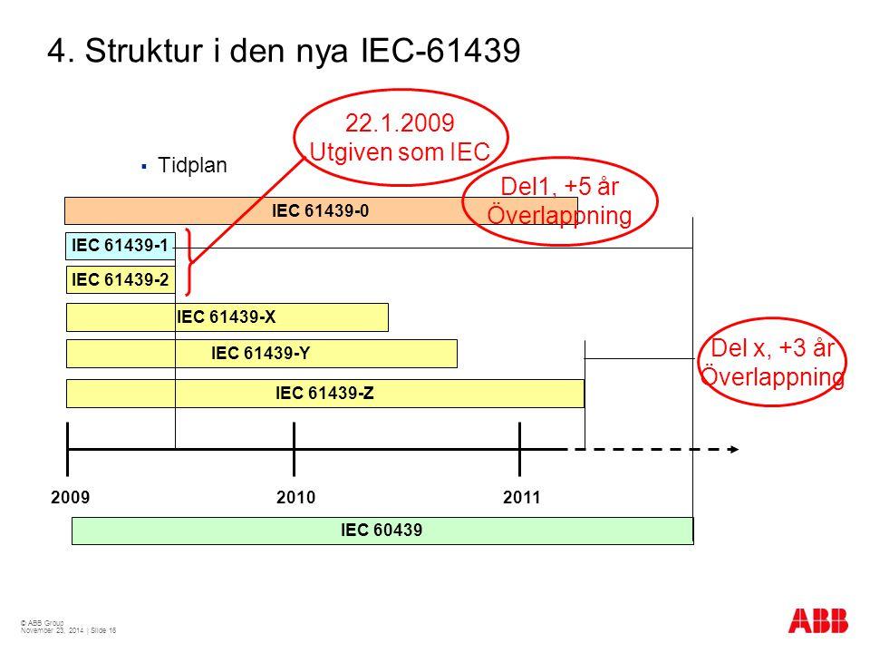 4. Struktur i den nya IEC-61439 22.1.2009 Utgiven som IEC Del1, +5 år
