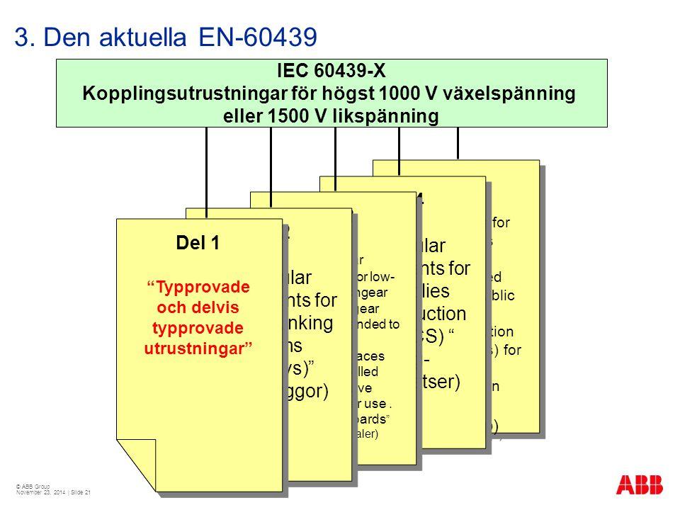 Kopplingsutrustningar för högst 1000 V växelspänning