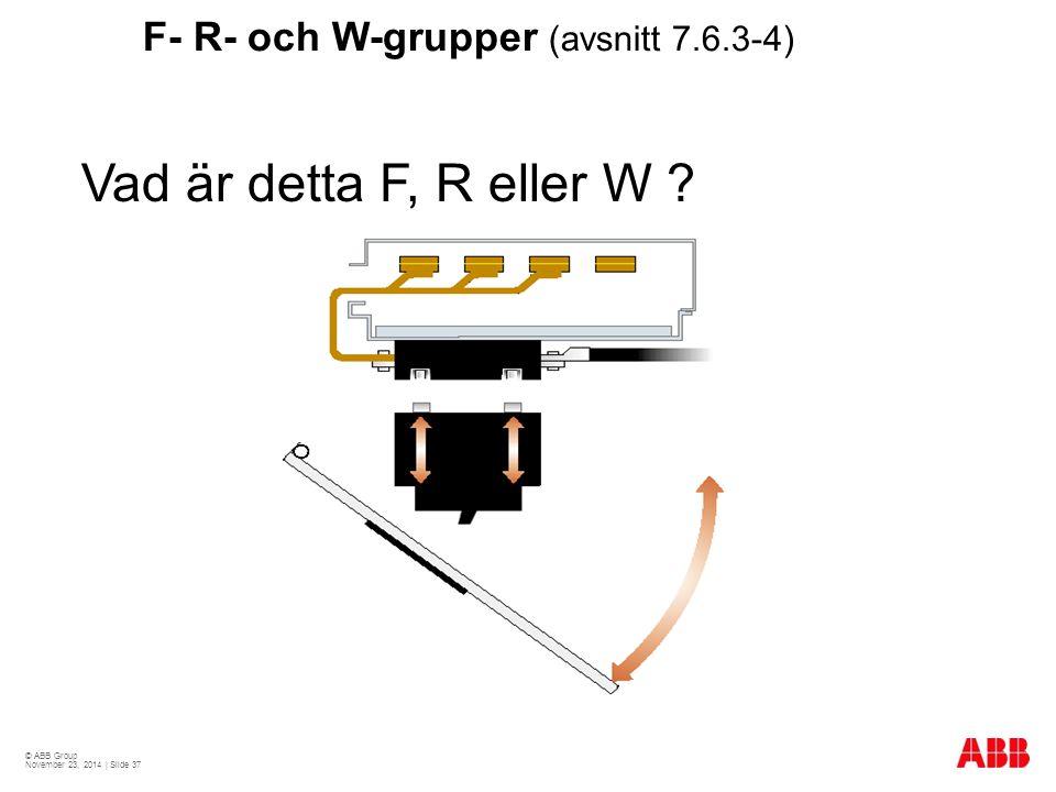 Vad är detta F, R eller W F- R- och W-grupper (avsnitt 7.6.3-4)