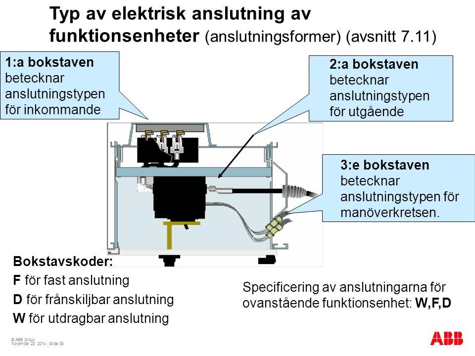 Typ av elektrisk anslutning av funktionsenheter (anslutningsformer) (avsnitt 7.11)