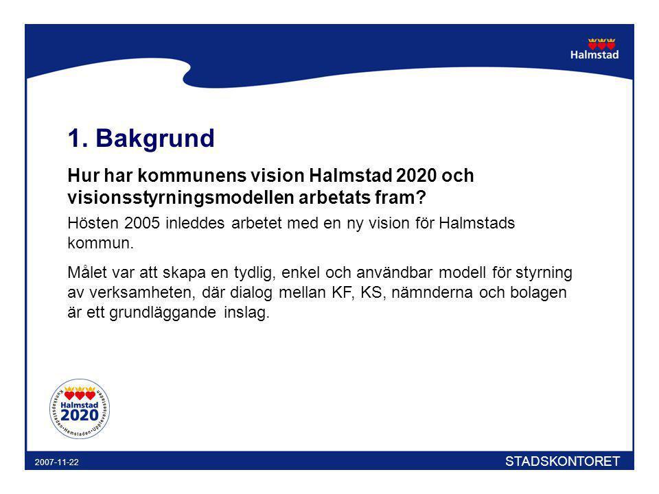 1. Bakgrund Hur har kommunens vision Halmstad 2020 och visionsstyrningsmodellen arbetats fram