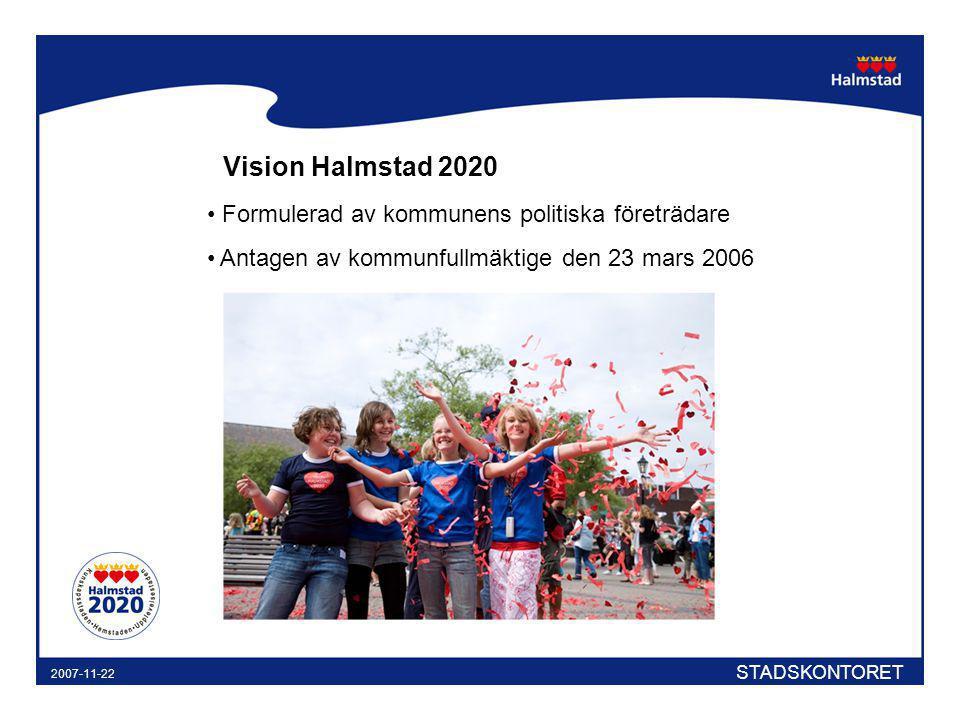Vision Halmstad 2020 Formulerad av kommunens politiska företrädare