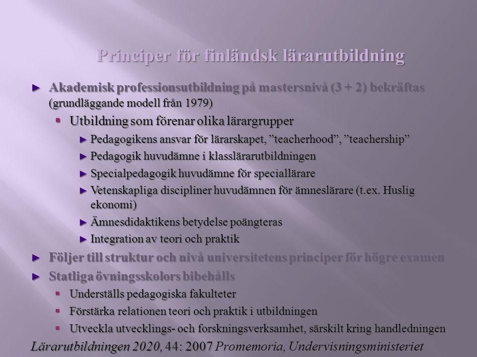 Principer för finländsk lärarutbildning
