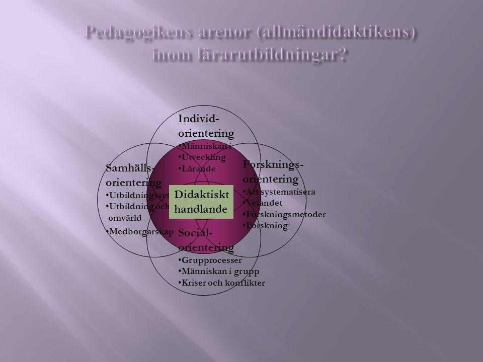 Pedagogikens arenor (allmändidaktikens) inom lärarutbildningar