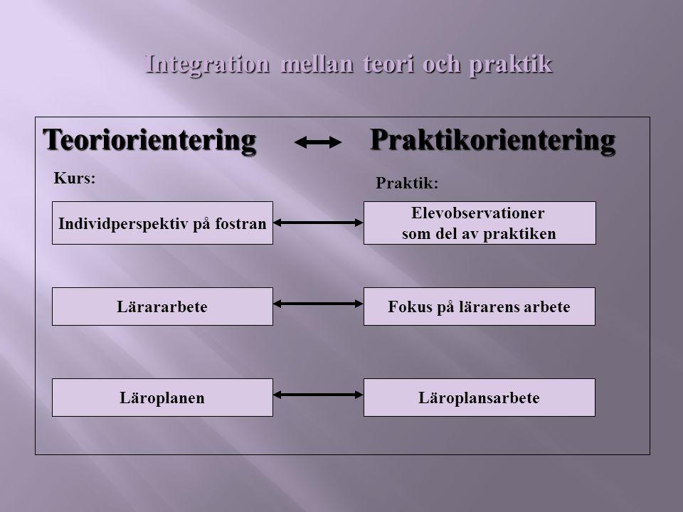 Teoriorientering Praktikorientering