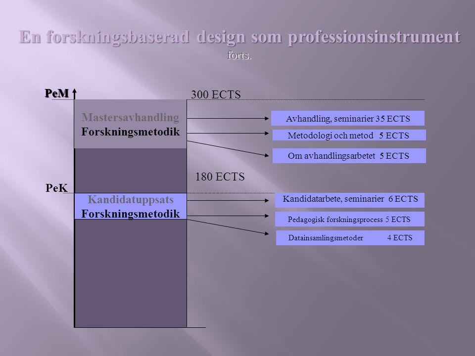 En forskningsbaserad design som professionsinstrument forts.