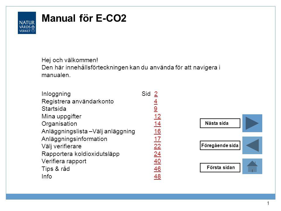 Manual för E-CO2 Hej och välkommen! Den här innehållsförteckningen kan du använda för att navigera i manualen.
