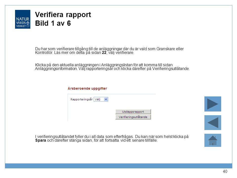 Verifiera rapport Bild 1 av 6