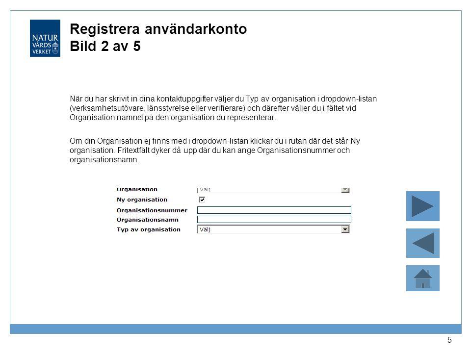Registrera användarkonto Bild 2 av 5