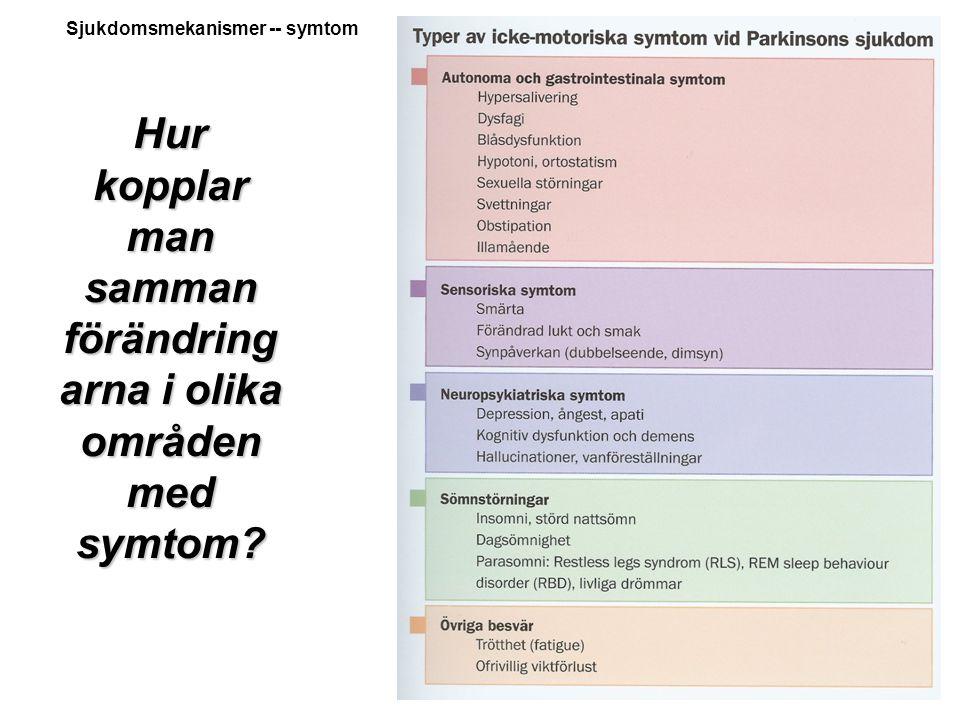 Hur kopplar man samman förändringarna i olika områden med symtom