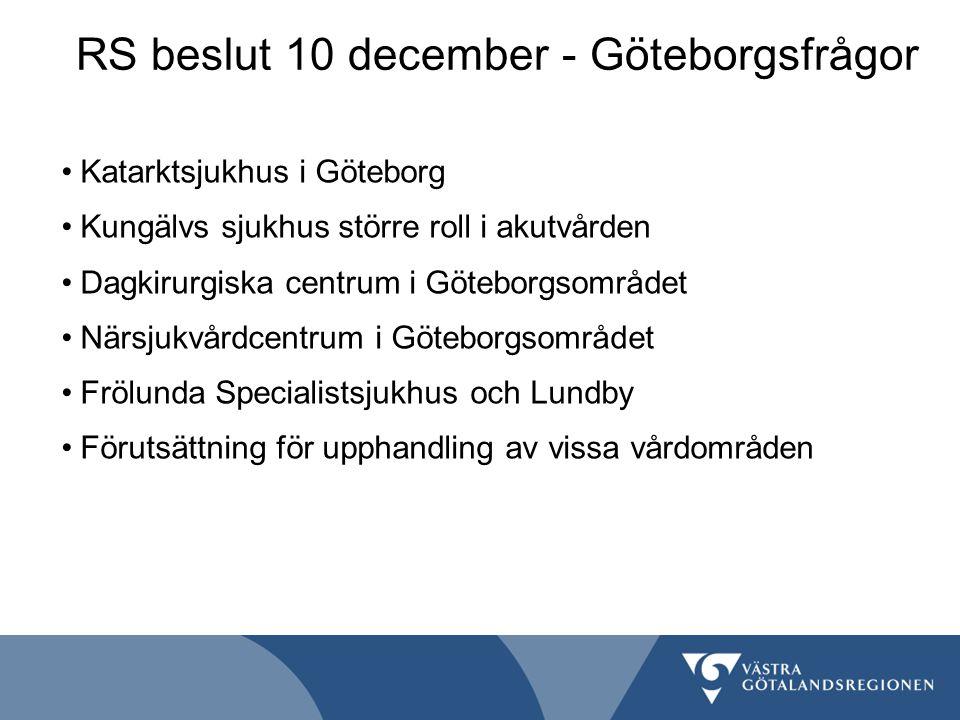 RS beslut 10 december - Göteborgsfrågor