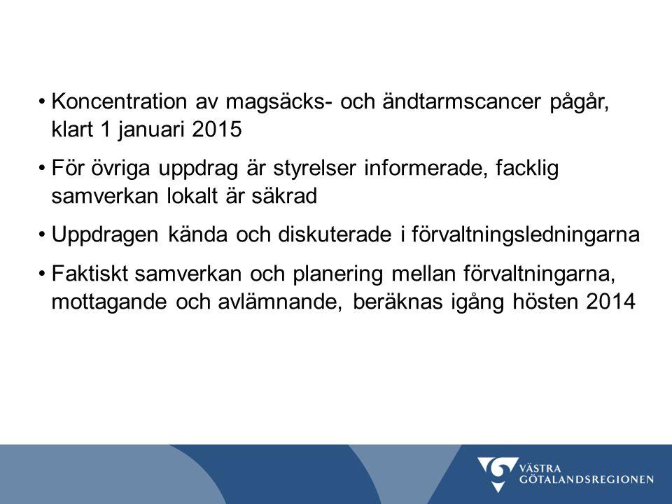 Koncentration av magsäcks- och ändtarmscancer pågår, klart 1 januari 2015
