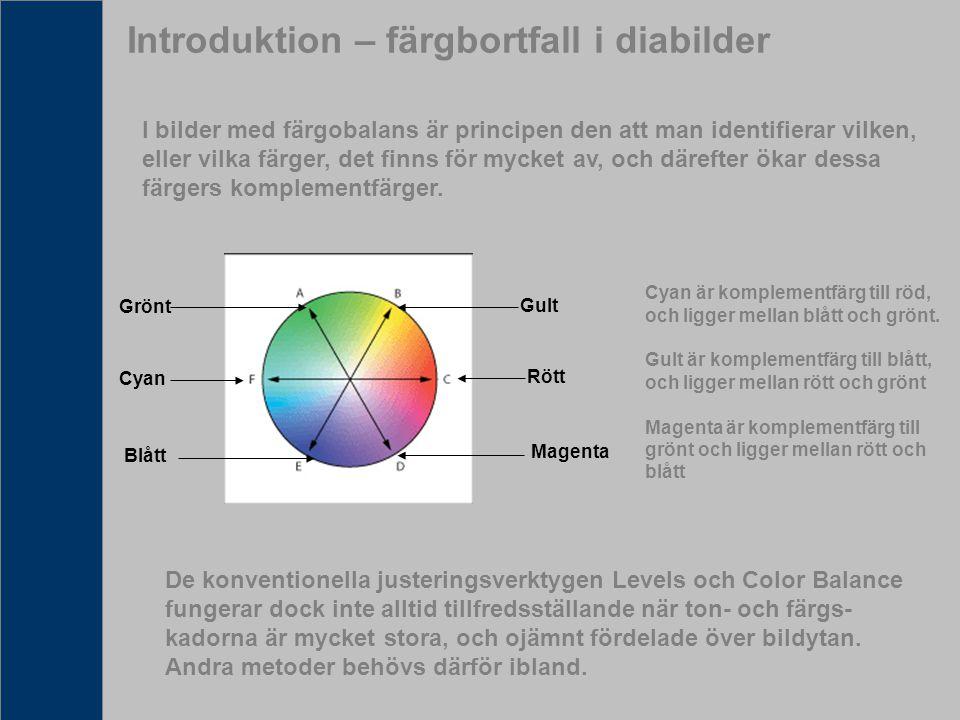 Introduktion – färgbortfall i diabilder
