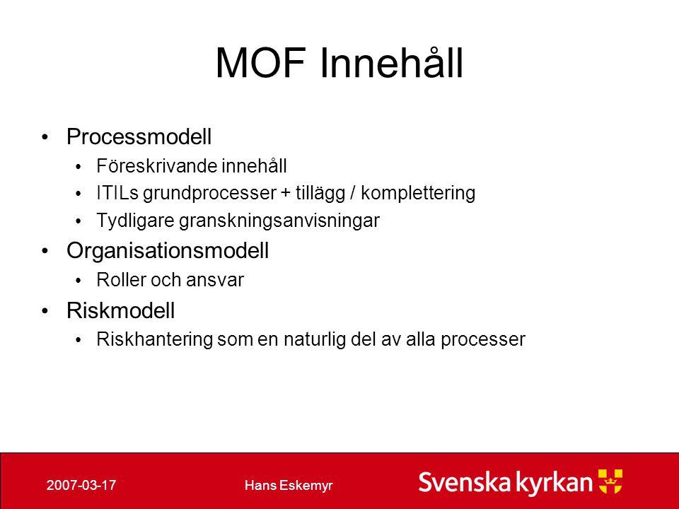 MOF Innehåll Processmodell Organisationsmodell Riskmodell