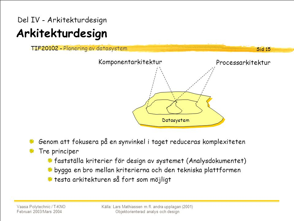 Arkitekturdesign Del IV - Arkitekturdesign Komponentarkitektur