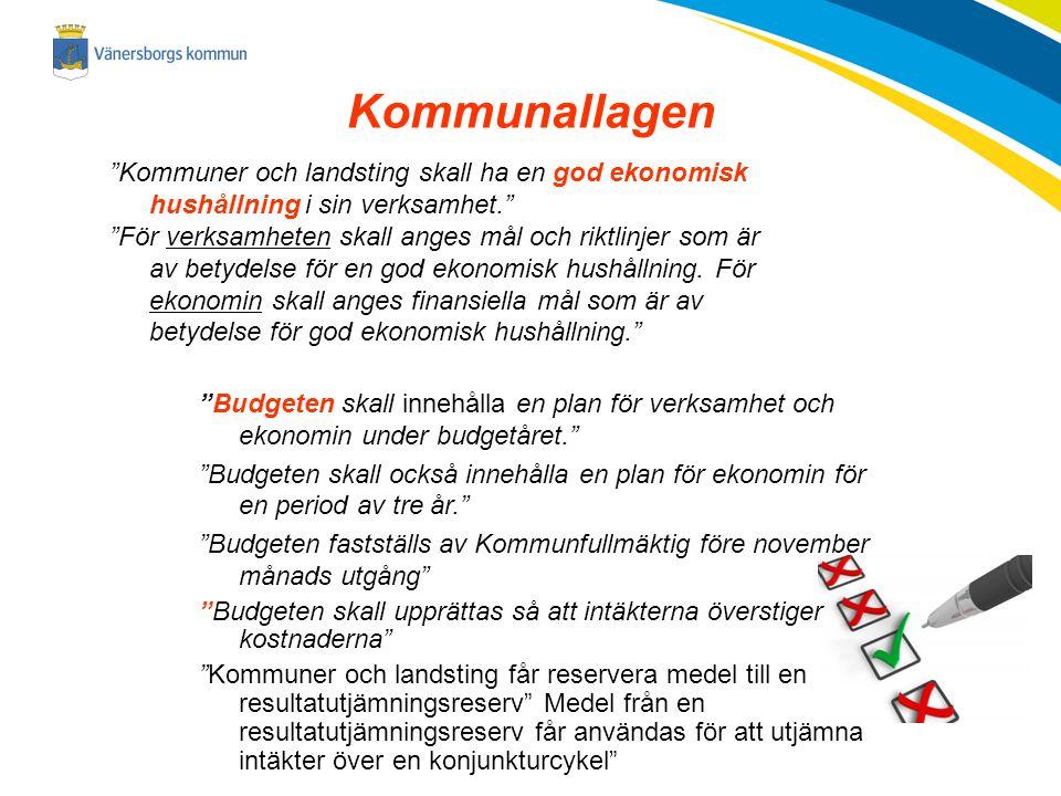 Kommunallagen Kommuner och landsting skall ha en god ekonomisk hushållning i sin verksamhet.