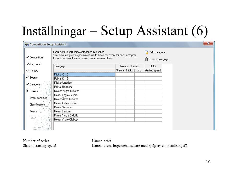 Inställningar – Setup Assistant (6)