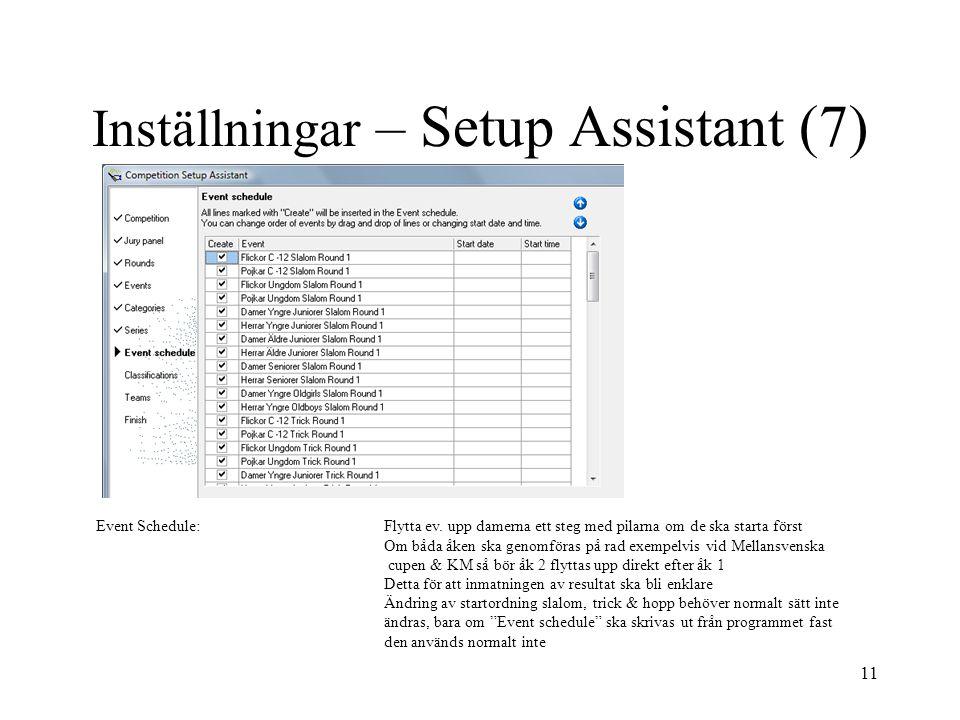 Inställningar – Setup Assistant (7)