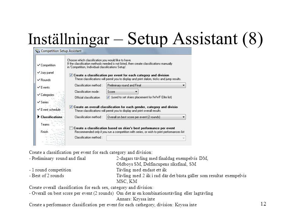 Inställningar – Setup Assistant (8)