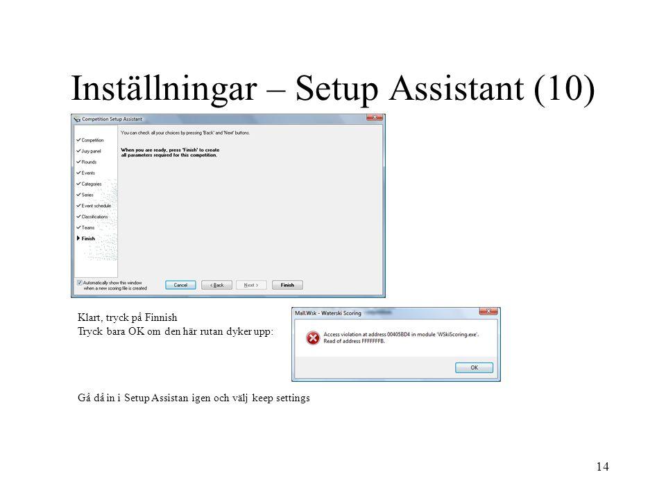 Inställningar – Setup Assistant (10)