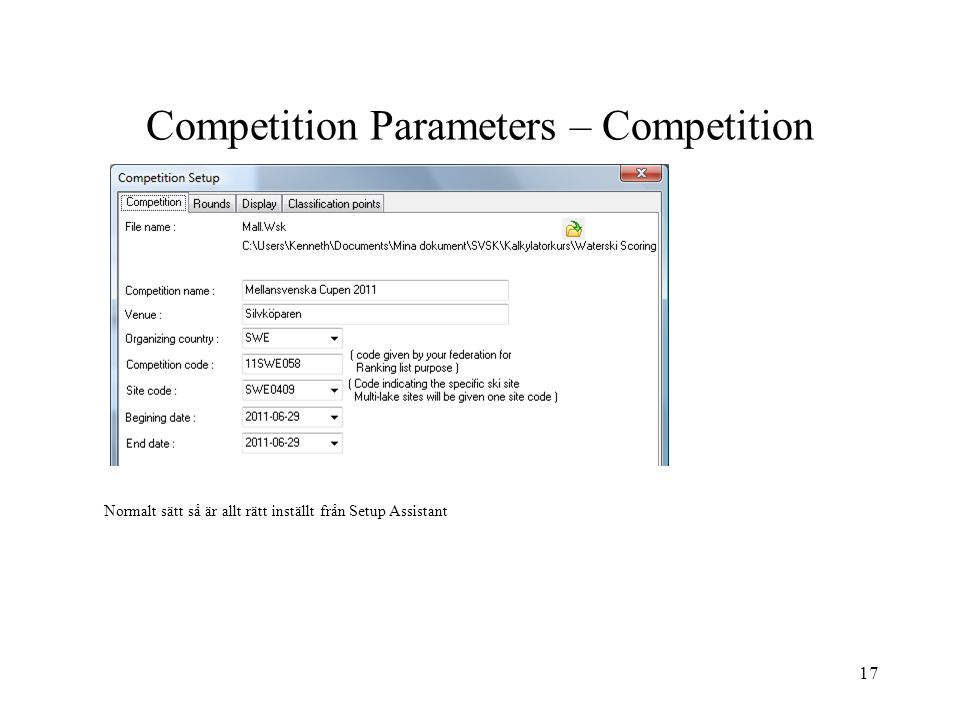 Competition Parameters – Competition
