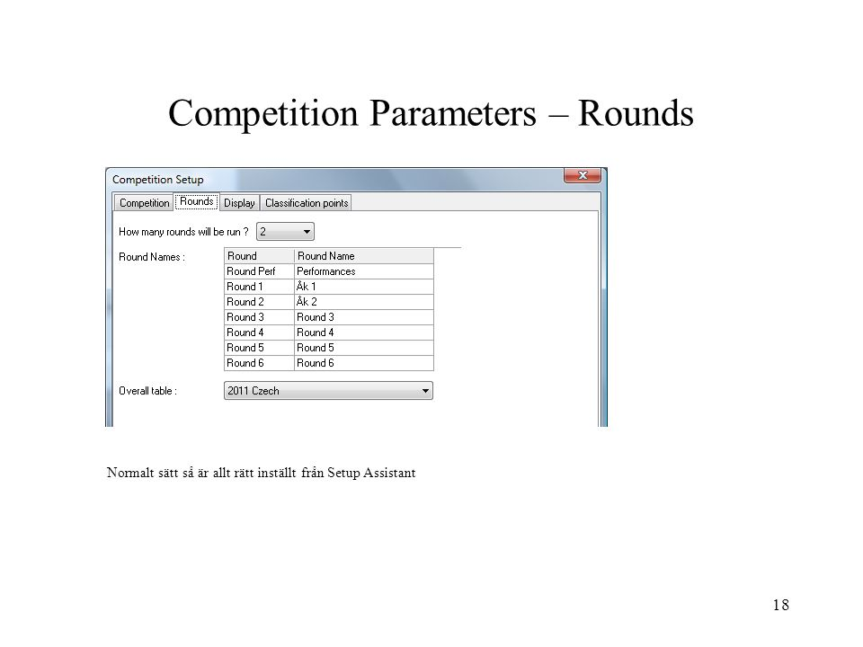 Competition Parameters – Rounds