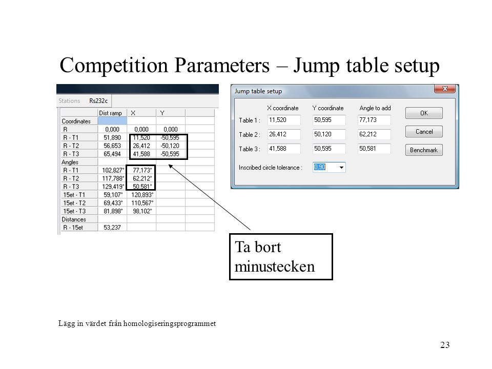 Competition Parameters – Jump table setup