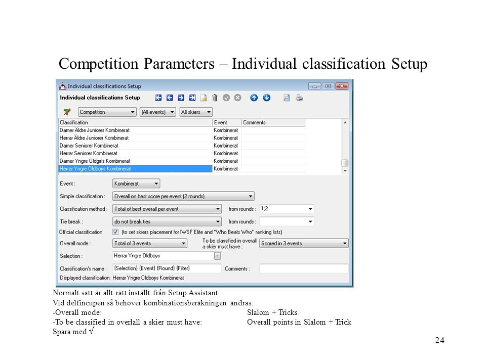 Competition Parameters – Individual classification Setup