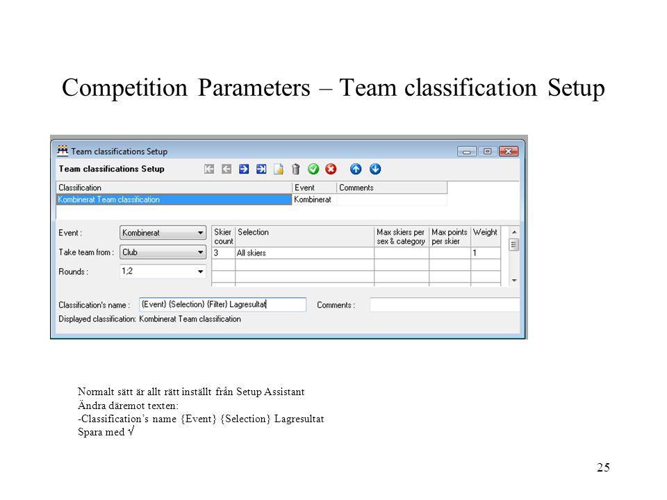 Competition Parameters – Team classification Setup