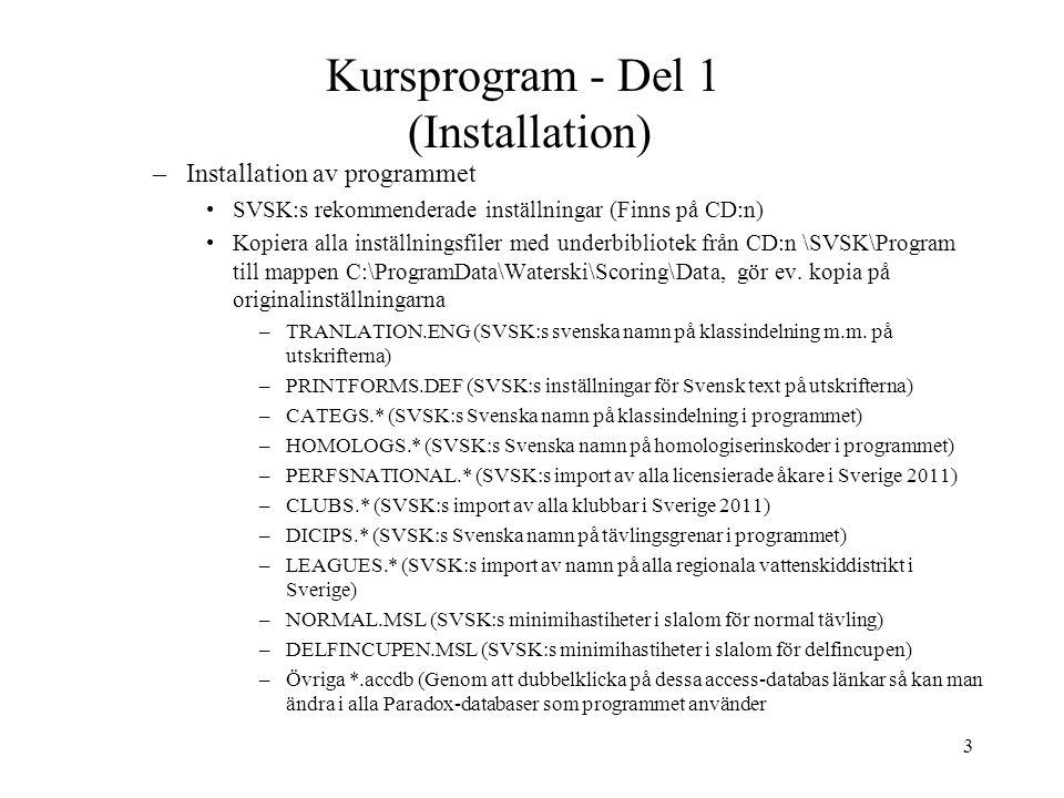Kursprogram - Del 1 (Installation)
