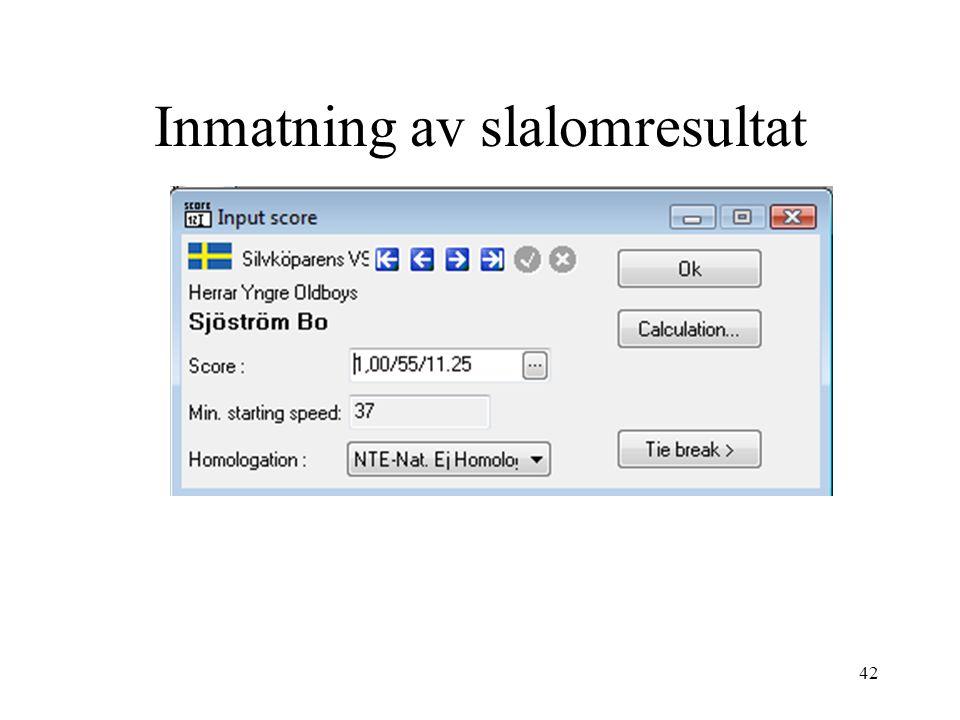 Inmatning av slalomresultat