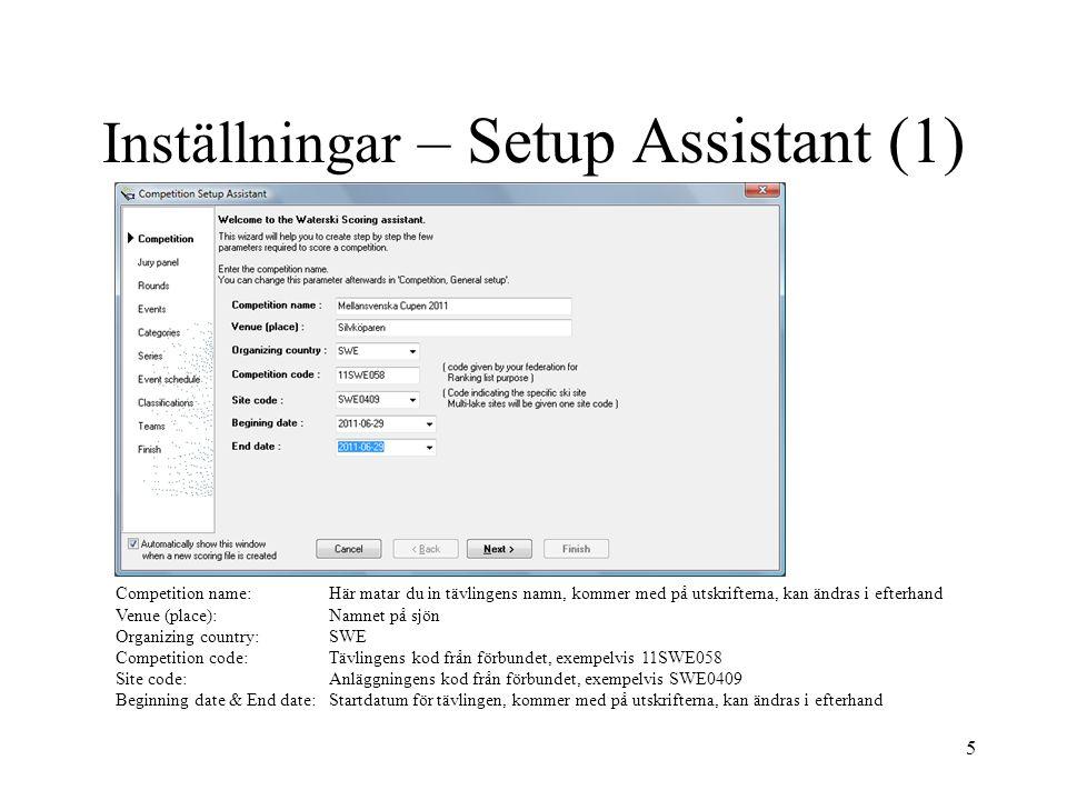 Inställningar – Setup Assistant (1)