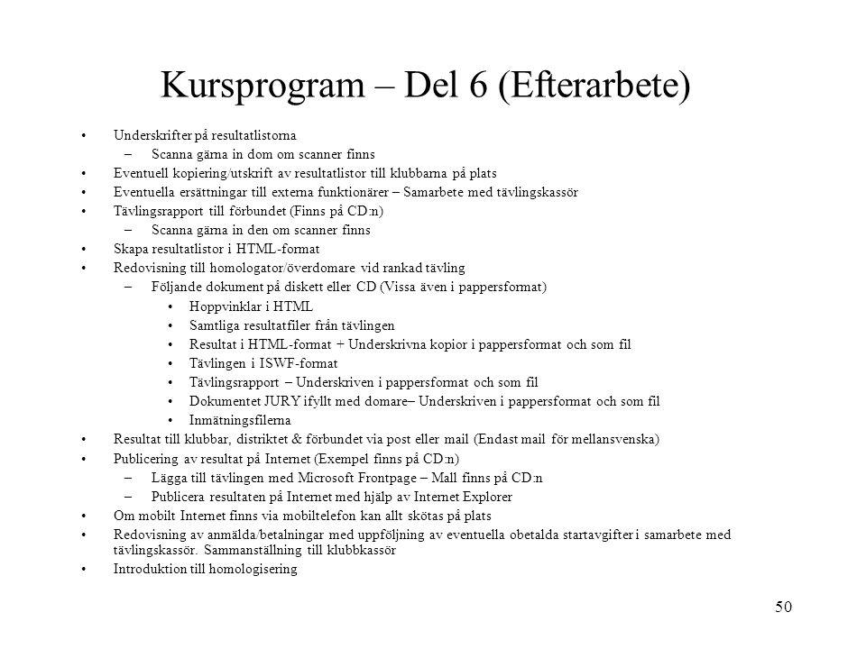 Kursprogram – Del 6 (Efterarbete)