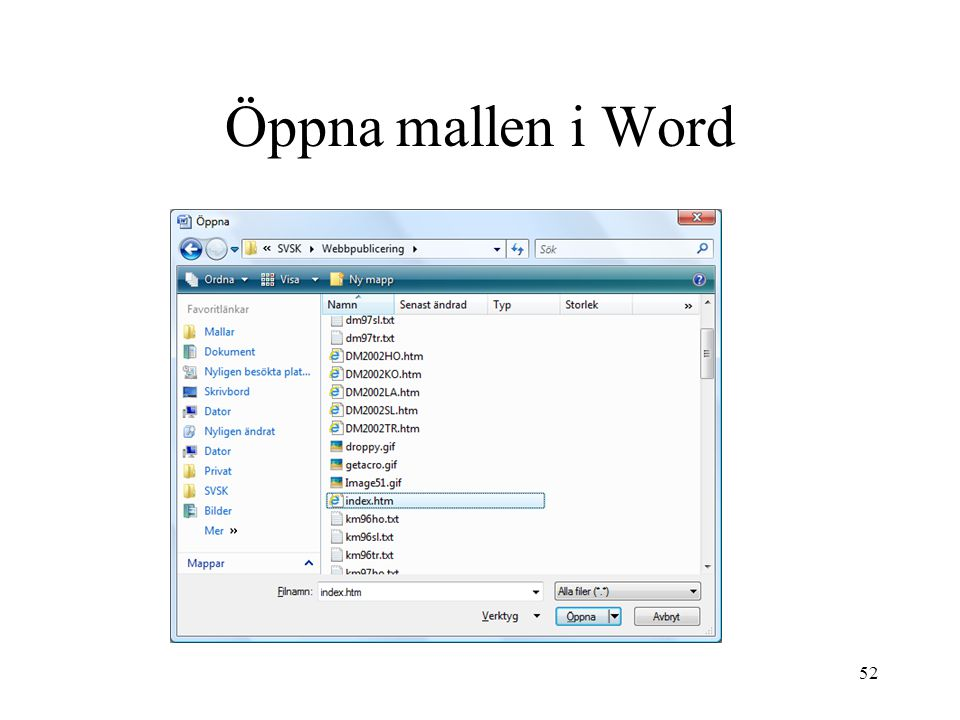 Öppna mallen i Word