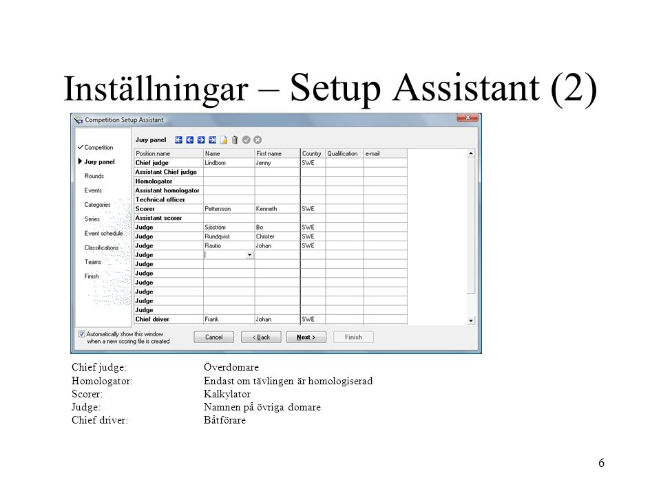 Inställningar – Setup Assistant (2)