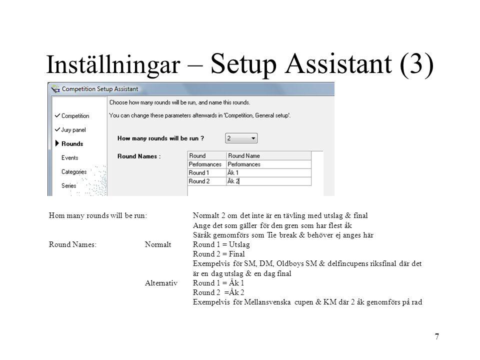 Inställningar – Setup Assistant (3)