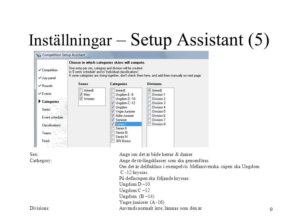 Inställningar – Setup Assistant (5)