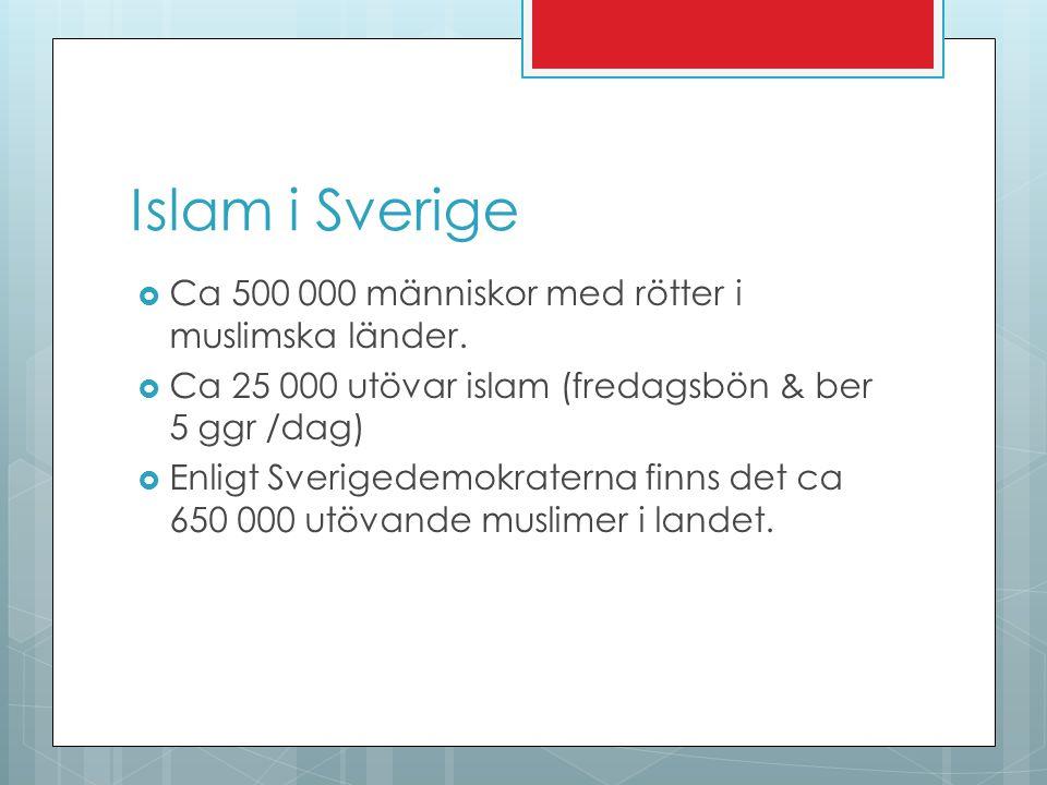 Islam i Sverige Ca 500 000 människor med rötter i muslimska länder.
