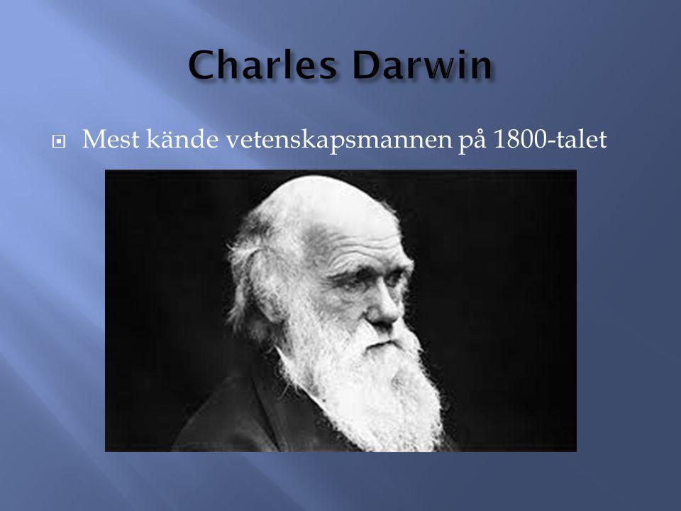 Charles Darwin Mest kände vetenskapsmannen på 1800-talet
