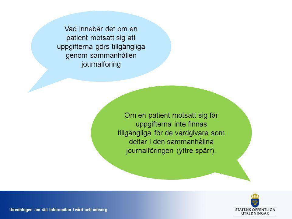 Vad innebär det om en patient motsatt sig att uppgifterna görs tillgängliga genom sammanhållen journalföring